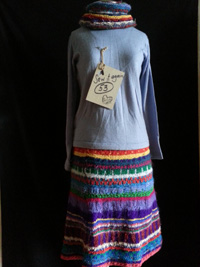skirt made from knitted wool scraps