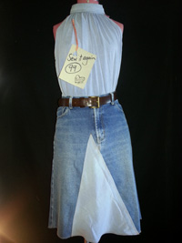 Upcycled denim jeans/skirt and shirt